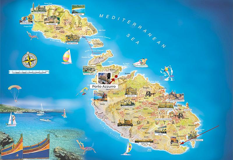 Porto Azzurro Malta Map - Porto Azzurro Apart Hotel Malta